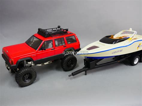 rc boat and trailer rc truck 1 10 sawback jeep cherokee 4x4 metal boat