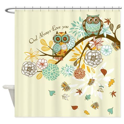 cafe press shower curtains autumn owl shower curtain by gatterwe