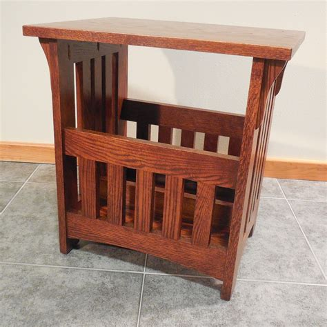 magazine end table with l solid oak mission magazine rack end table 16 quot x 22