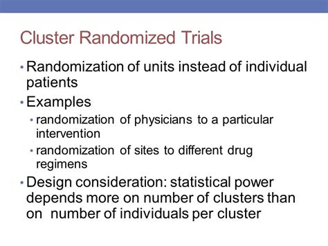 design effect cluster randomised trials pragmatic study designs elderly cancer trials ppt download