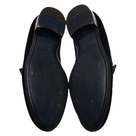 louis vuitton velvet slippers louis vuitton blue velvet tuxedo bow loafers size 43 buy