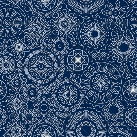 pattern navy blue white lace flowers on dark blue seamless pattern vector