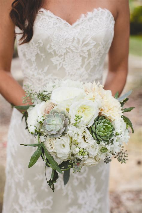 43372 Khaki White Flower Summer by White Peony And Succulent Bridal Bouquet