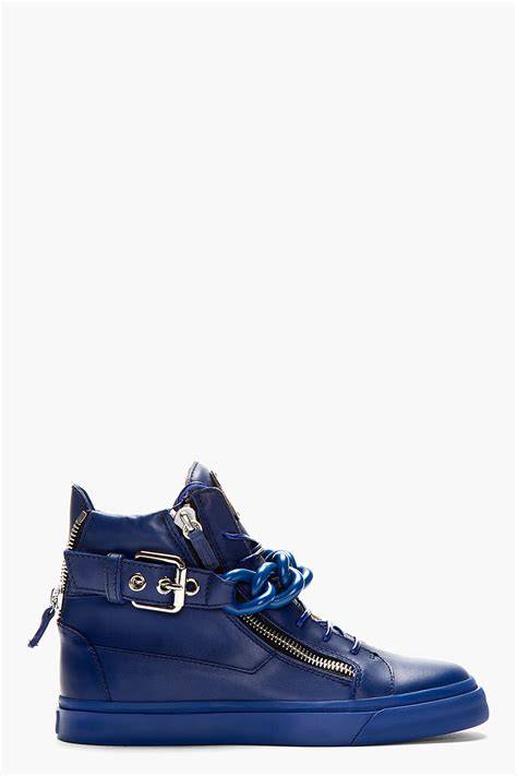blue giuseppe sneakers giuseppe zanotti chain detail hi top sneakers in blue for