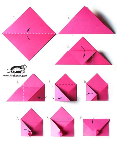 Day Origami Ideas - idea for v day or any envelope origami
