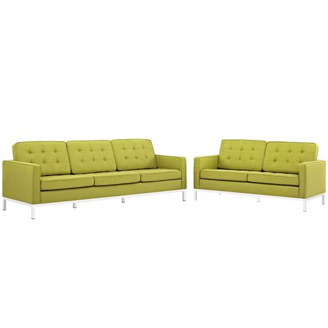 tufted couch set loft modern 2pc upholstered button tufted sofa loveseat
