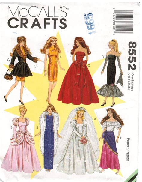 clothes pattern shops mccalls pattern 8552 barbie doll clothes wedding gown
