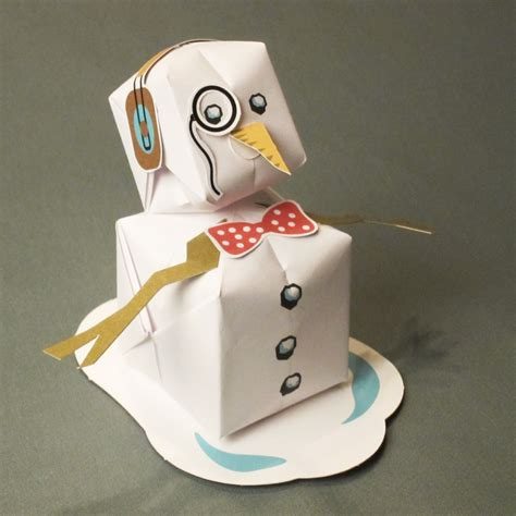 How To Make A Snowman Out Of Paper Plates - origami snowman card rob design