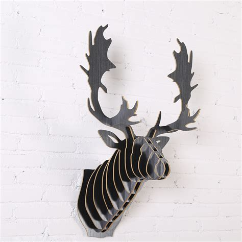 elk home decor fallow reindeer head diy wooden wall home decor european
