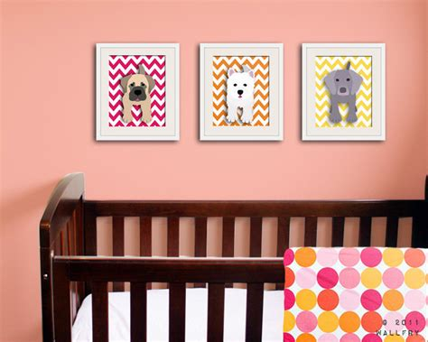 Chevron Nursery Decor Set Of Any 3 Puppy Dog Art Prints Kids Puppy Nursery Decor