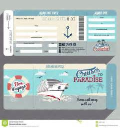 cruises to paradise boarding pass design stock vector