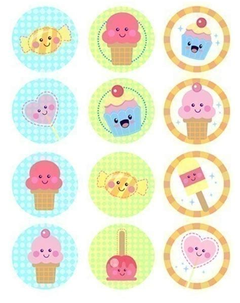 imagenes kawaii pdf cupcake toppers kawaii sweets or favor tags and