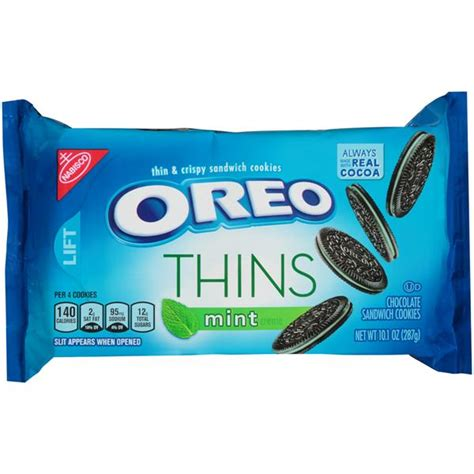 Oreo Thins Vanila Flavour 95g nabisco oreo thins mint creme chocolate sandwich cookies