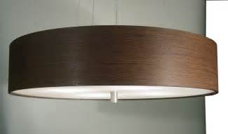 Drum Style Chandelier Wood Veneer Light Pendant