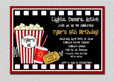 printable birthday invitations movie theme free movie birthday invitation movie night birthday party