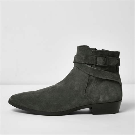 mens grey chelsea boots river island grey suede chelsea boots in gray for