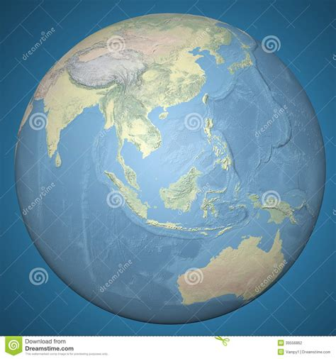world earth globe asia indonesia relief map stock