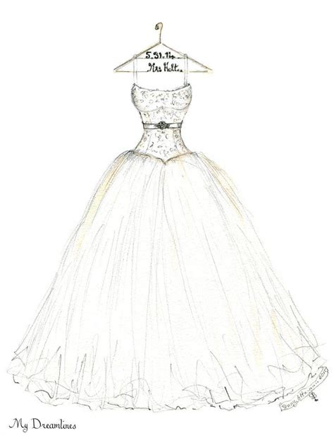 wedding dress sketching pencil and in color wedding dress sketching