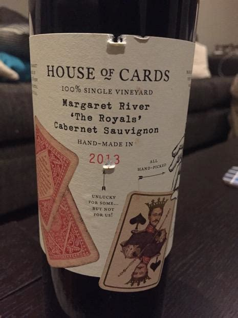 house of cards winery 2012 house of cards cabernet sauvignon the royals single vineyard australia western