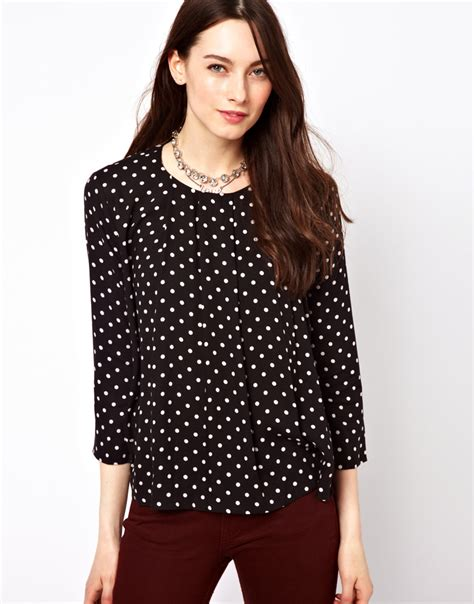 Blouse Atasan Polkadot lyst connection polka dot blouse in black
