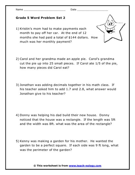 Math Word Problems Grade 2 Worksheets by Grade 5 Word Problems Set 2