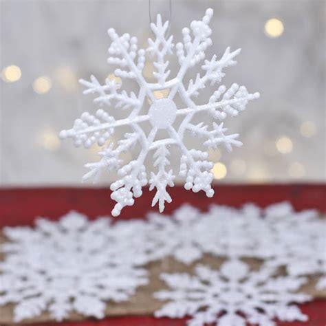 bulk white glitter snowflake ornaments christmas