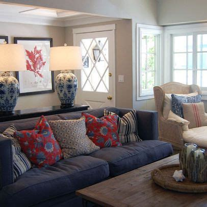 blue couch decorating ideas blue sofa with red pillow accents traditional home blue