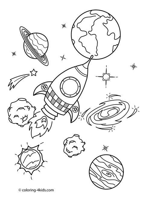 preschool coloring pages outer space space coloring pages for kids with rocket printable free