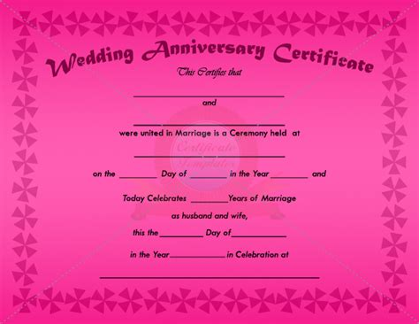 anniversary certificate templates wedding anniversary certificate template anniversary
