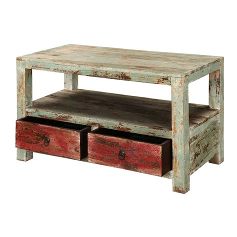 rustic wood coffee table with drawers appalachian rustic mango wood 2 tier coffee table w drawers
