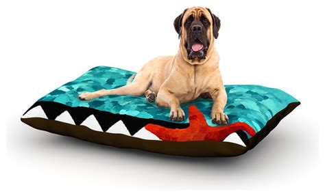 turquoise dog bed oriana cordero quot turquoise ocean quot blue aqua fleece dog bed 50 quot x 60 quot contemporary dog beds by kess global inc