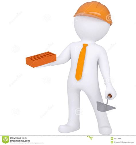 layout verbeterplan 3d white people building a brick wall royalty free stock