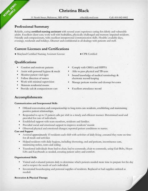 certified nursing assistant resume templates summary of qualifications for assistant resume
