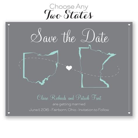 State Love Save The Date Card Invitations By Dawn