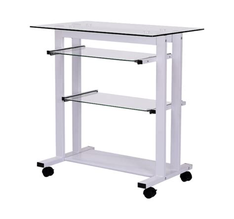 Computer Desk On Wheels Homcom Computer Workstation W Wheels Laptop Pc Desk Glass Table Stand White Ebay