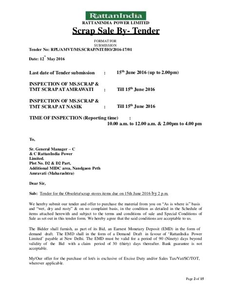 Sle Of Acceptance Letter For A Tender Notice Inviting Tenders For Sale Of Ms Scrap 2016 17 01 Rpl