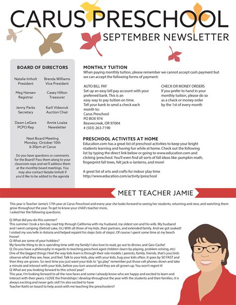 newspaper theme preschool carus preschool news