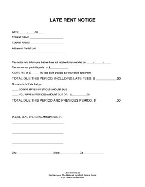Late Rent Notice Template Forms Fillable Printable Sles For Pdf Word Pdffiller Late Fee Template