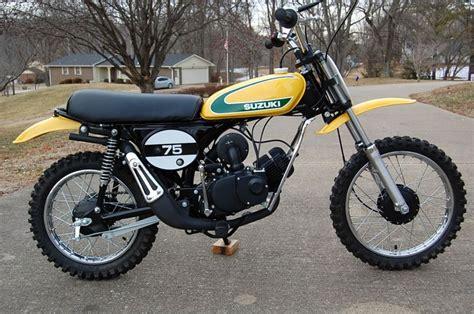 beginner motocross bike 1974 suzuki tm75 light weight with a bullet proof rotary
