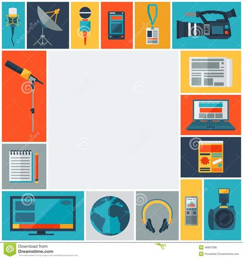 layout artist journalism background with journalism icons stock vector