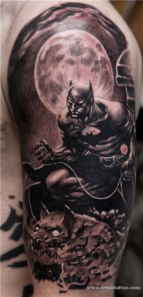 remis tattoo batman gargoyle black and grey by remis tattoonow