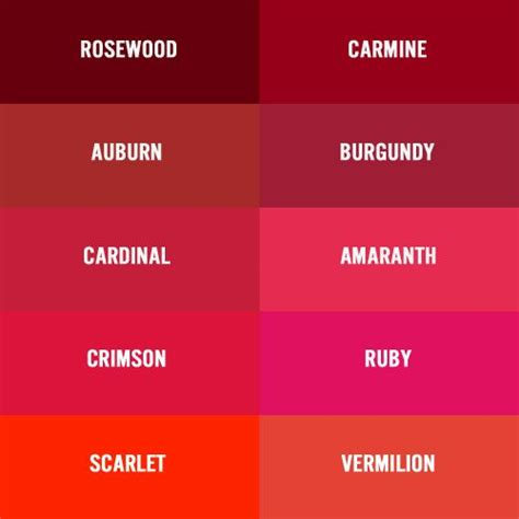 shades of red list there are several names for deep red burgundy wine