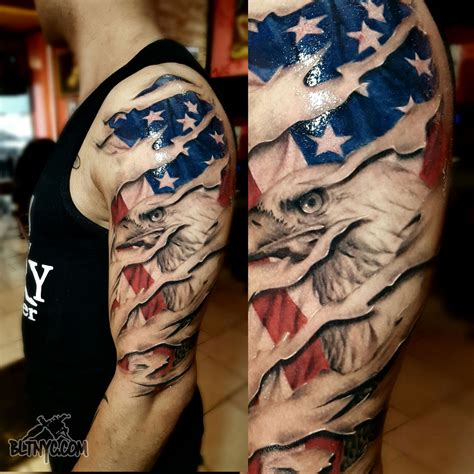military and tattoos shredded skin with american flag and eagle by