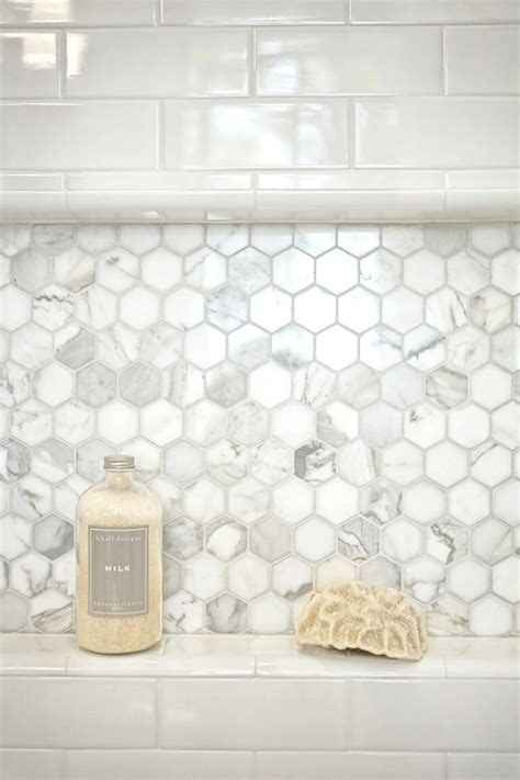 Stunning Botanical Wall Using Hexagon Tiles - tiles beautiful farmhouse bathroom remodel hexagon tile