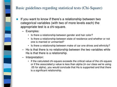 ppt basic guidelines regarding statistical tests chi square powerpoint presentation id 499476
