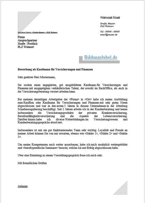 Anschreiben Bewerbung Ausbildungsplatz Versicherungskaufmann bewerbungsschreiben bildungsbibel de