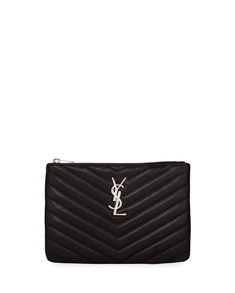 Ysl Silver Pouch By Arali Shop laurent monogram ysl small chevron quilted zip top