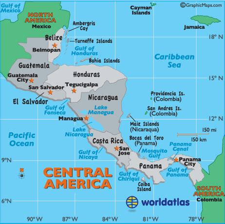 central america map with states and capitals central america capital cities map central america