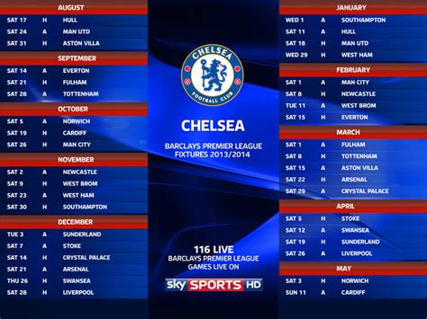 Epl Chelsea Fixtures | chelsea football club 2013 14 season
