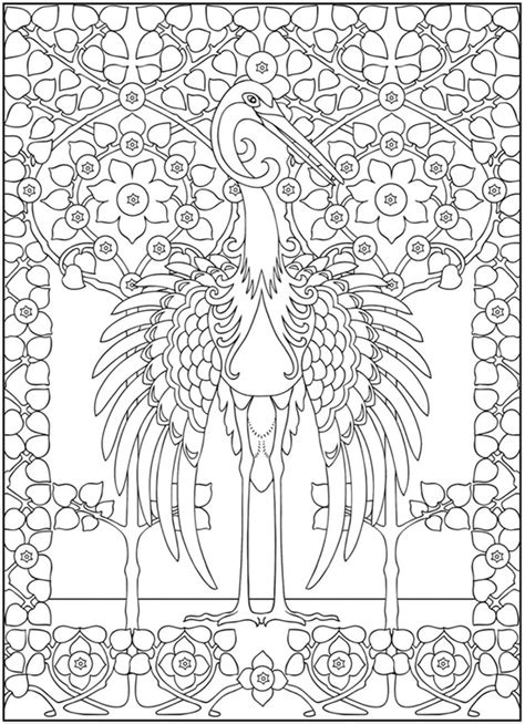 Free Coloring Pages Art Nouveau Animals Coloring Book Artist Coloring Pages